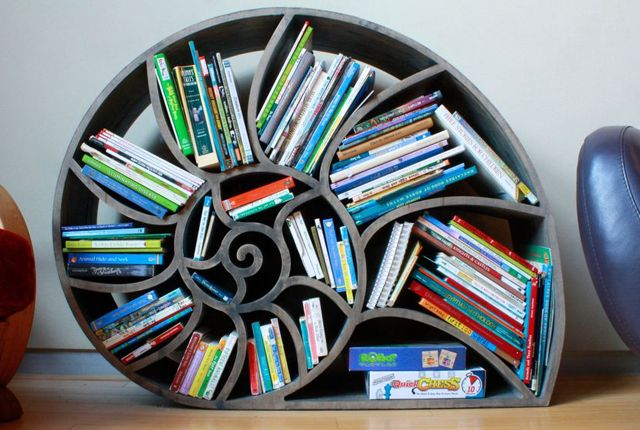 So perfect for Violet's under the sea nursery!   Build Your Own Nautilus Bookshelf | Mental Floss