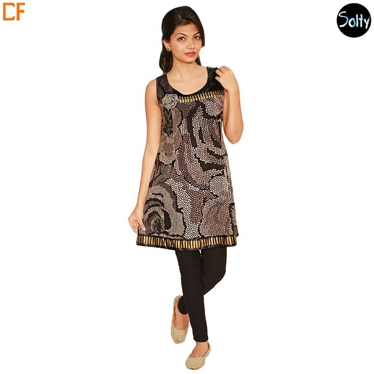 Black floral kurti in cotton material. Opt for cotton as it is a natural product and has many advantages, such as, it's ability to control moisture, insulate, weatherproof and a durable fabric. The kurti has a U-shaped neckline, sleeves, a fit that flatters the figure, contrast panel on the front panel and hemline, with floral patterns throughout giving it a very psychedelic feel. http://www.droomfashion.com/shop/brands-kurtis/black-floral-cotton-kurti/
