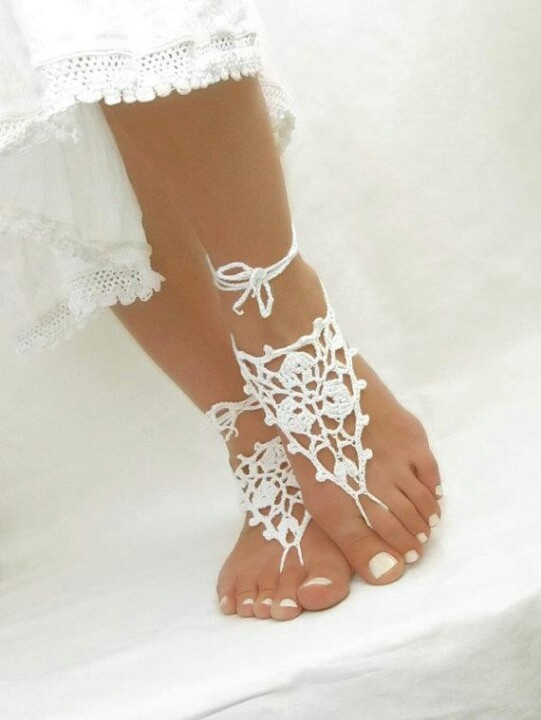 Crochet shoes for a beach wedding