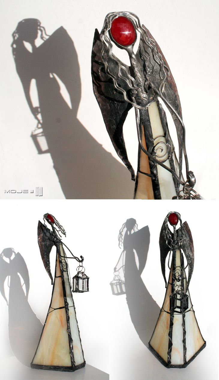 Argilo. Anioł z latarenką / Angel with lamp. Witraż Tiffany / Tiffany Stained Glass. Dekoracje do domu. Glass Angel. Moje MW