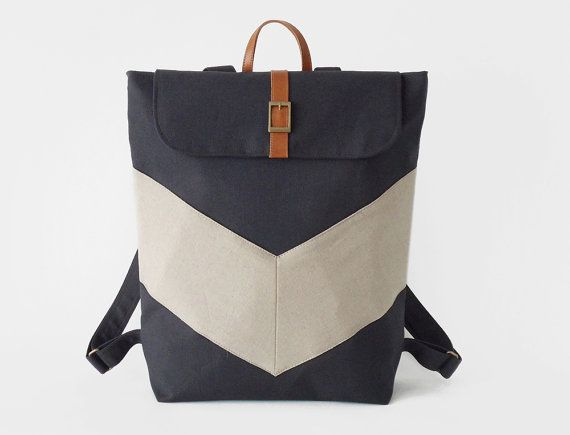 Dark navy, Oatmeal chevron canvas backpack / Laptop bag / diaper bag, Design by BagyBags