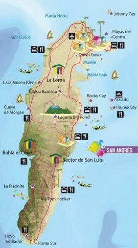 Mapa de isla San Andres, Colombia