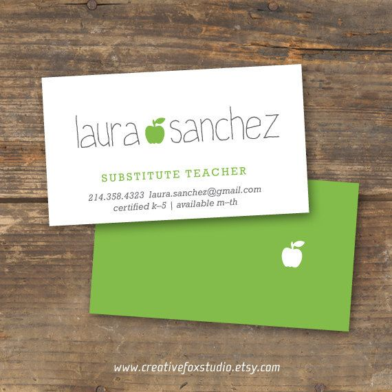 $15.25 Applelicious Teacher or Substitute business card printable. Click to buy now from CreativeFoxStudio and get 10% off with coupon code PIN10! #teacher #printable