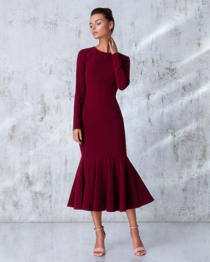 Платье «Лиза» миди бордо, Цена— 26990 рублей