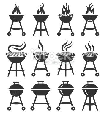Summer Barbecue black and white royalty free vector icon set Royalty Free Stock Vector Art Illustration