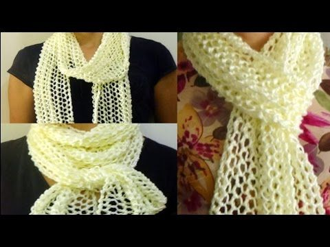 Cómo Tejer Bufanda de Lujo-Lace Scarf Knitting 2 Agujas (245)