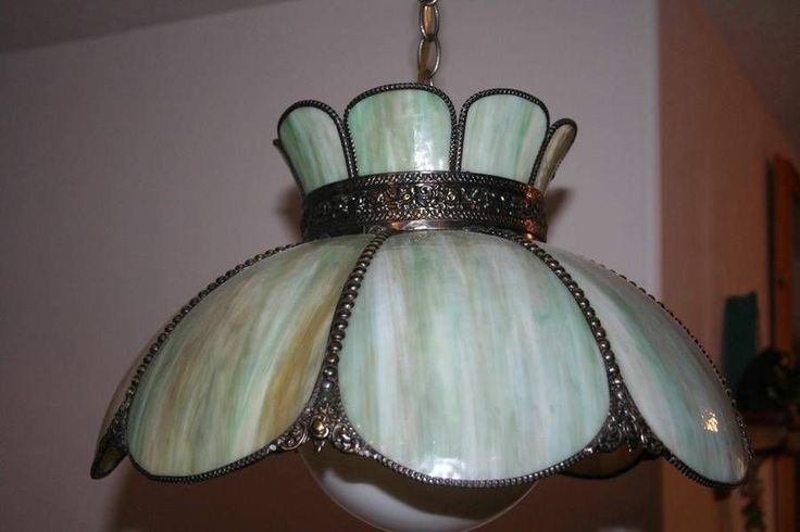 Vintage Bent Green Stained Slag Glass Shade Light Hanging