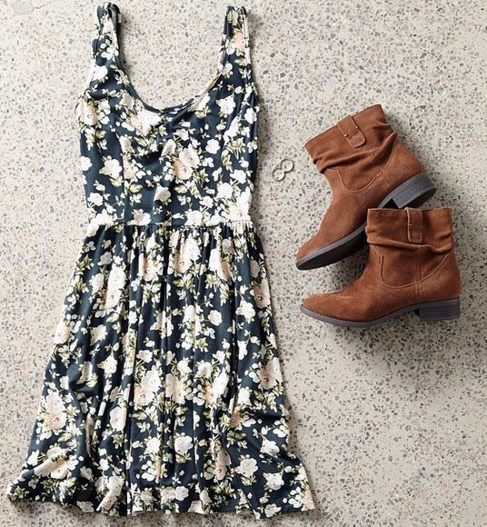 Floral dress from American Eagle Outfitters <3 would be super cute with tights and ankle boots for fall