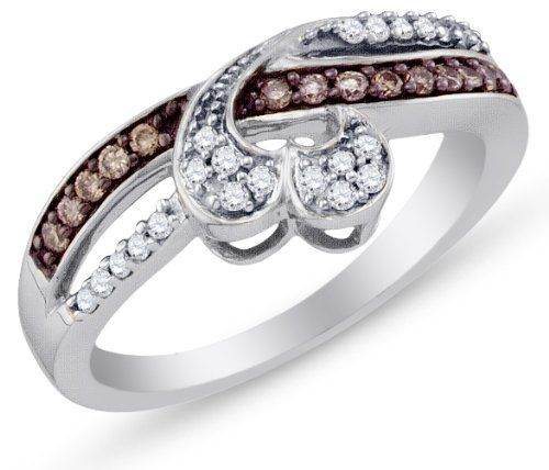 10K White Gold Channel Set Heart Round Brilliant Cut Chocolate Brown and White Diamond Ladies Womens Fashion,... $339.00
