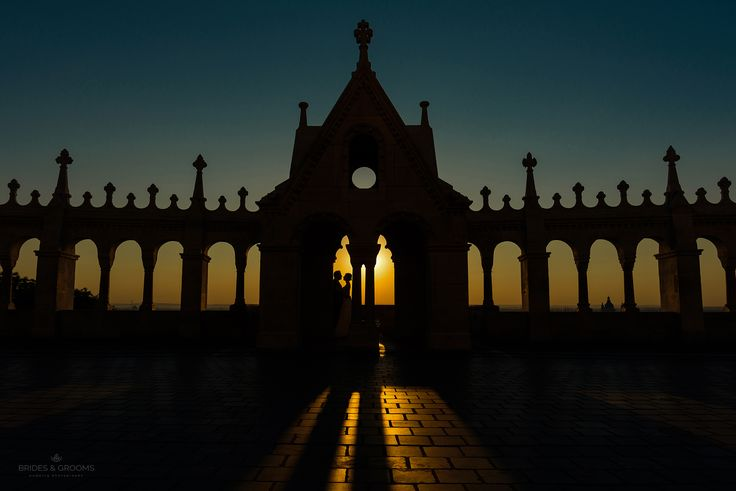 Silhouette at Fishermans Bastion with bride and groom