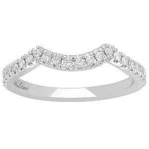 Waves of round diamonds line this beautiful wedding band for her, which is contoured to fit around her engagement ring. Set in platinum, the diamond ring from the Neil Lane Bridal collection has a total diamond weight of 1/5 carat.