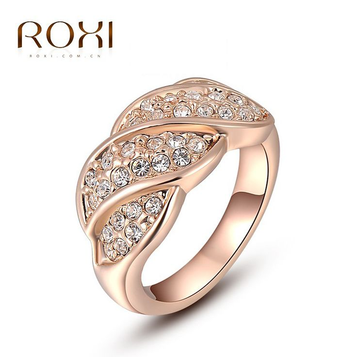ROXI Brand 2016 Best Gift Leaf Ring Lovers Natural Stone Super Junior Wedding Rings new Gold Plated Big Finger Ring