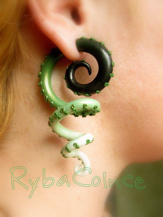 Fake ear tentacle gauge  Faux gauge/Gauge by RybaColnce on Etsy, $25.00