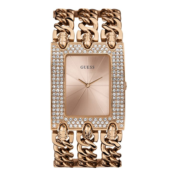 W0085L3  GUESS Signature Style Dress Watch.   Rose Gold Tone Hardware.  Go from day to night with sleek contemporary style and sophisticated finishes.