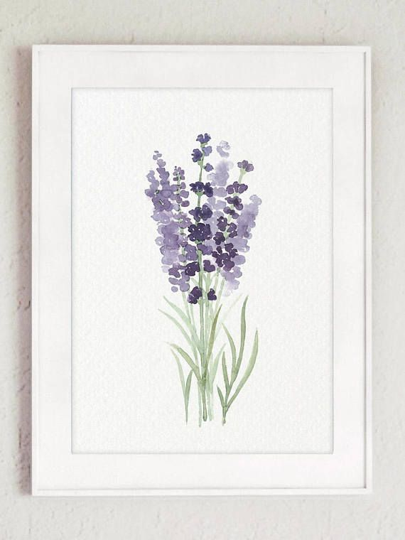 Lavender Flower Painting Canvas Botanical Print Kitchen Wall Etsy In 2021 Flower Painting Canvas Watercolor Art Prints Flower Painting