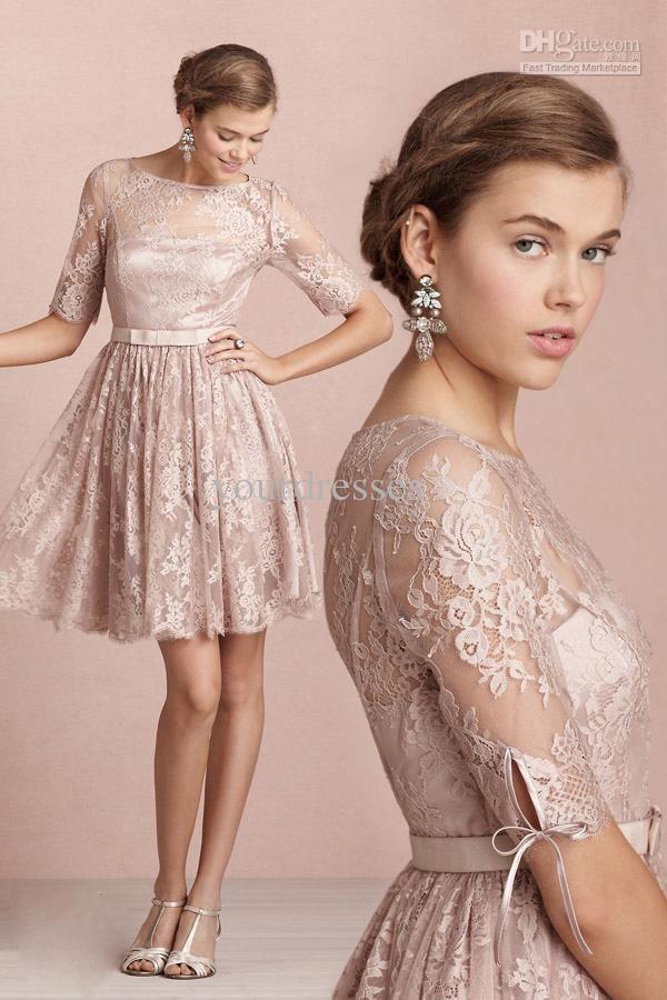 Wholesale Vintage Modest Champagne Lace Half Sleeves Knee Length Bridesmaid Dress