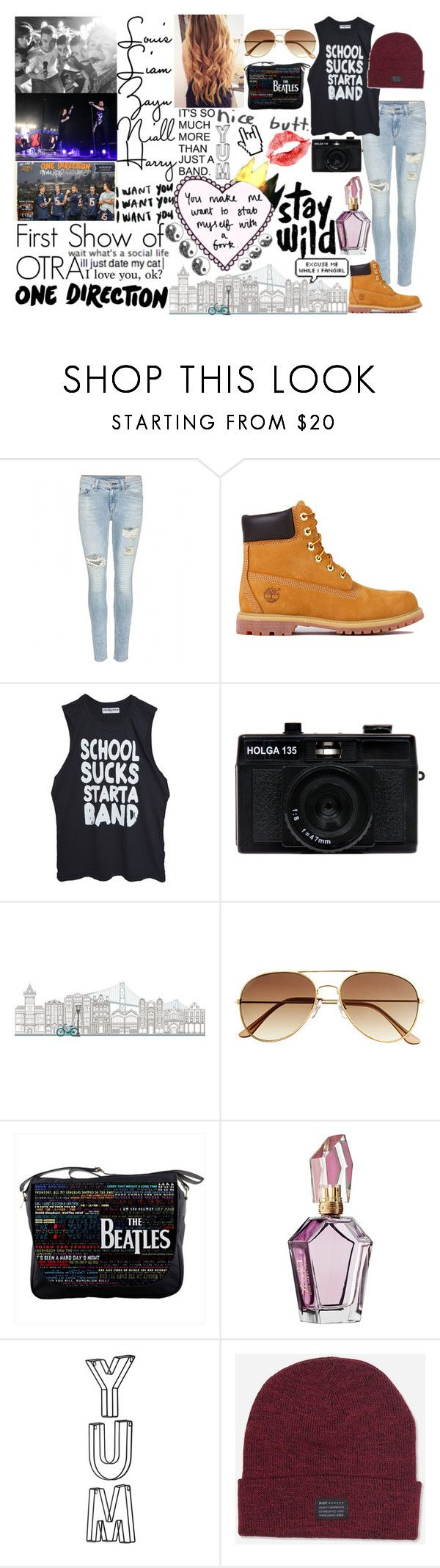 """""""First Show of OTRA Tour 2015"""" by kennedey-lynn-freeman ❤ liked on Polyvore featuring rag & bone, Timberland, High Heels Suicide, Holga, Wall Pops!, H&M, Again, Prada and HUF"""