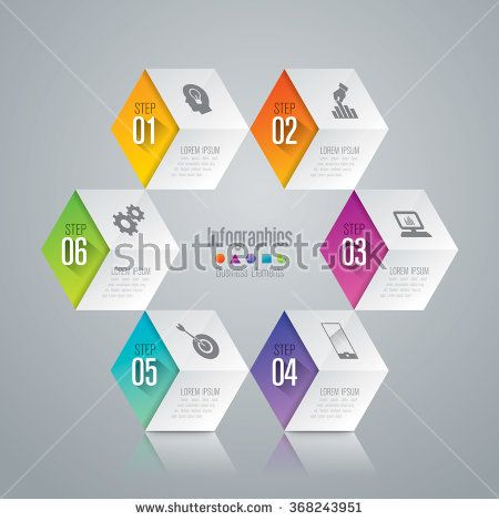 Infographic design template can be used for workflow layout, diagram, number options, web design. Infographic business concept with 6 options, parts, steps or processes. Abstract background. - stock vector