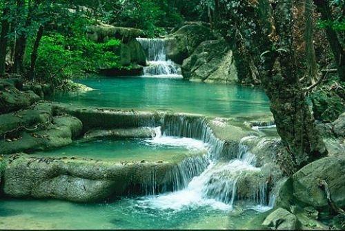 Erawan Falls in Western Thailand