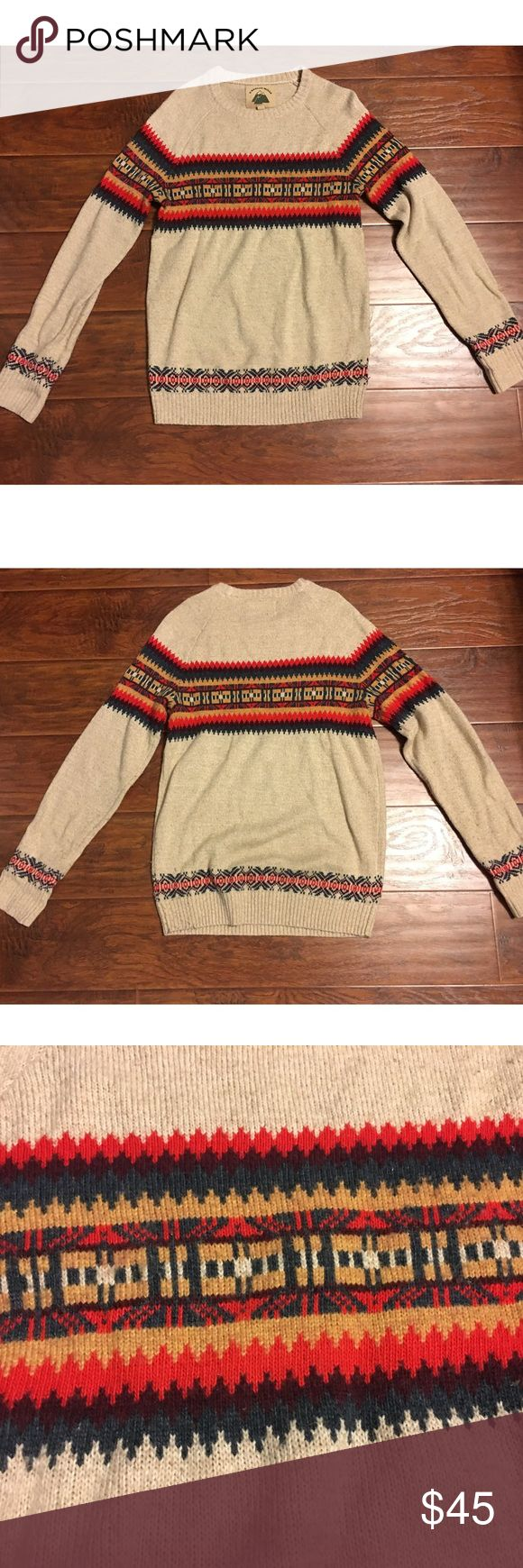 UO O'Hanlon Mills Tribal Print Sweater Tribal Print Sweater. Worn a handful of times. Slight pilling in some areas. Fits as an oversized 'boyfriend' sweater. Urban Outfitters Sweaters Crew & Scoop Necks