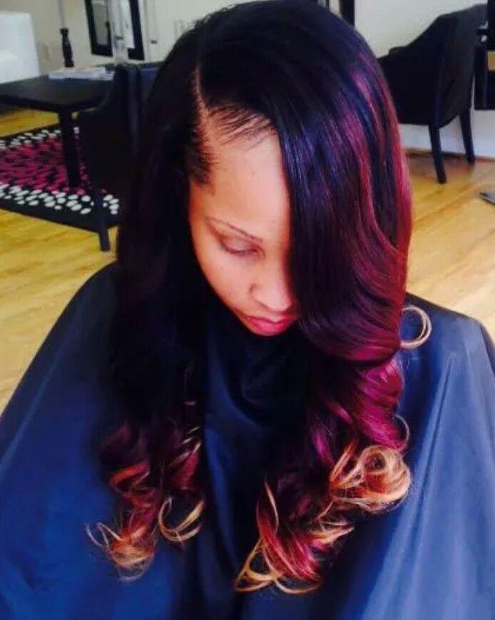 burgundy dip dyed side part sew