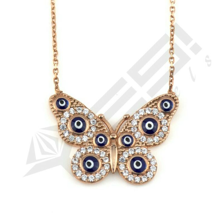 Sterling silver #evileye #butterfly #necklace