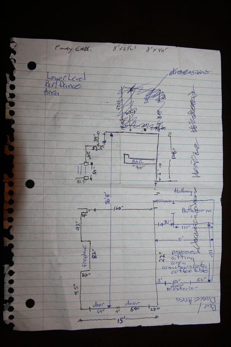Lower Level/DanceBar Area Dimensions