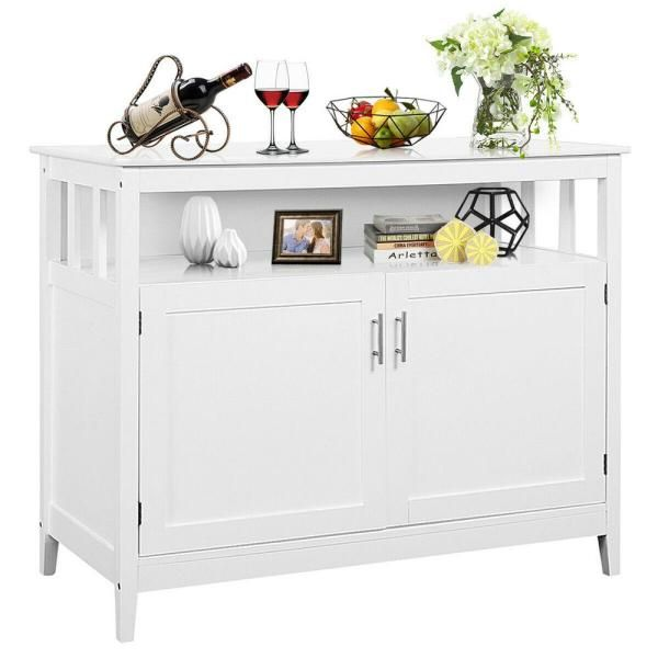 Costway Modern Kitchen Storage Cabinet Buffet Server Table Sideboard Dining Wood White Hw53869wh The Home Depot Modern Kitchen Storage White Kitchen Storage Dining Room Server