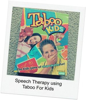 Speech therapy materials Taboo for Kids is a great language game that parents can play at home to target lots of language learning skills!