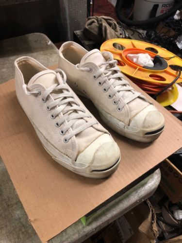 295e9c22c945 1980s CONVERSE JACK PURCELL WHITE CANVAS CLASSIC SNEAKERS USA Sz 7 994  Vintage