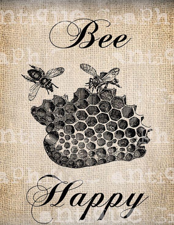 Antique Bee Happy Vintage Bee Hive Digital by AntiqueGraphique, $1.00