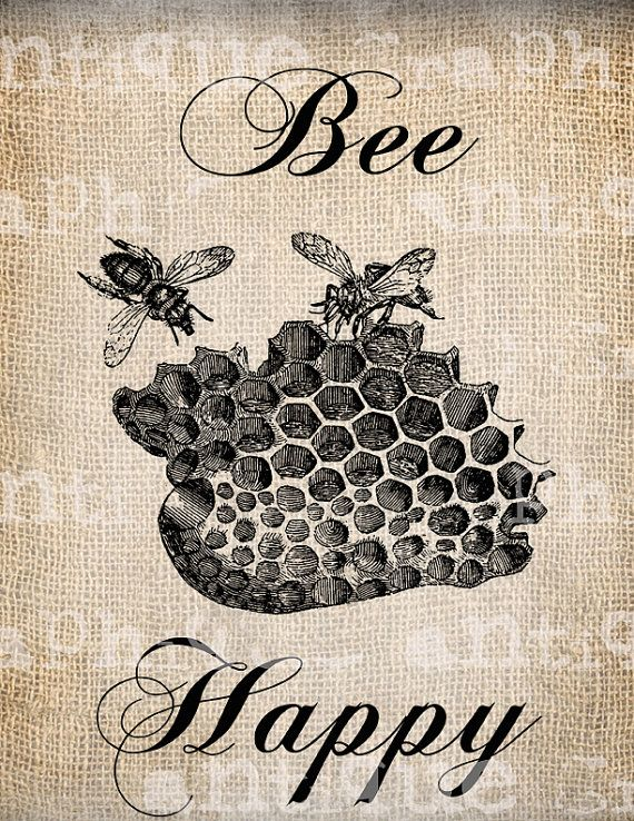 Antiguo abeja feliz Vintage Bee Hive descarga Digital para toallas de té, Papercrafts, transferencia, almohadas, etc. arpillera Nº 2797