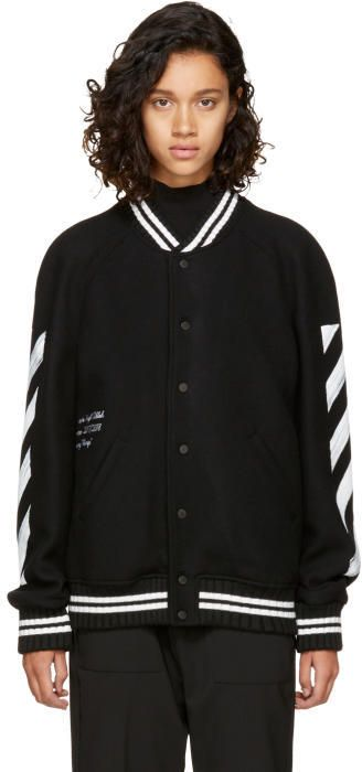 a3981a5e435b Off-White Black Brushed Diagonal Varsity Jacket