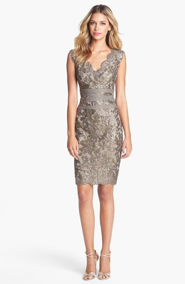 Tadashi Shoji Embellished Metallic Lace Sheath Dress @nordstrom