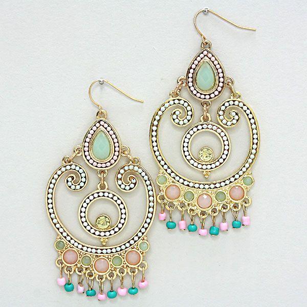 Michelle Chandelier Earrings in Pastel Softness