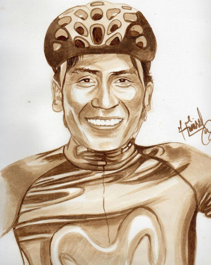 Retrato hecho con café del ciclista colombiano Nairo Quintana