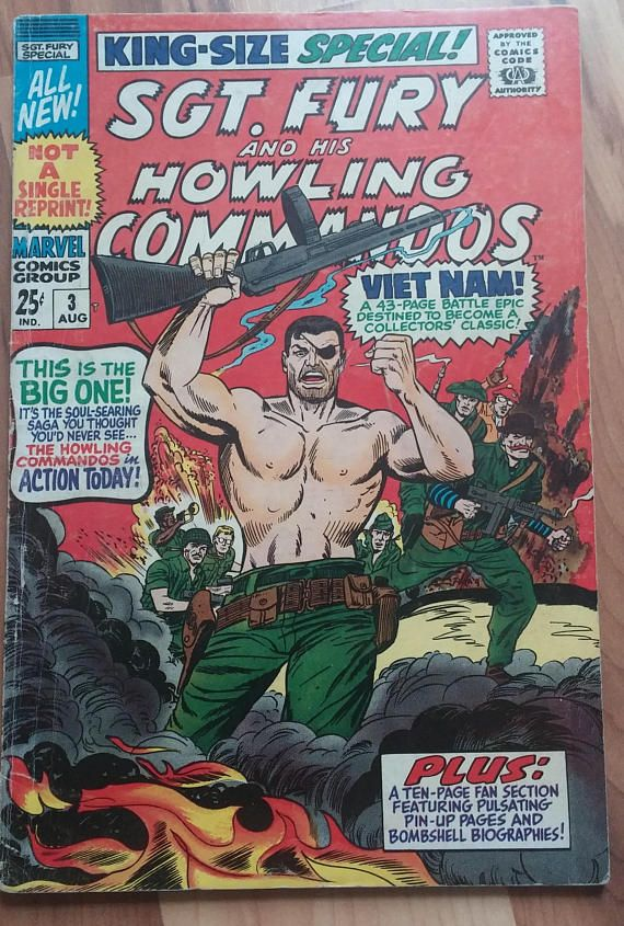 """Sgt. Fury and His Howling Commandos (King-Size Special!) #3 August 1967 Marvel Comics, Viet-Nam: The Valor and the Victory!"""", Silver Age"""