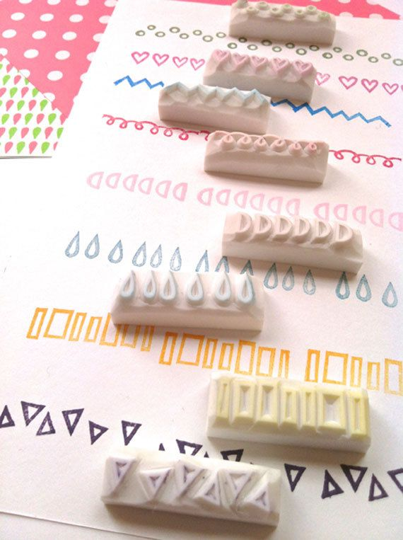 geometric rubber stamp. hand carved rubber stamp. border stamp. extra small. CHOOSE ONE