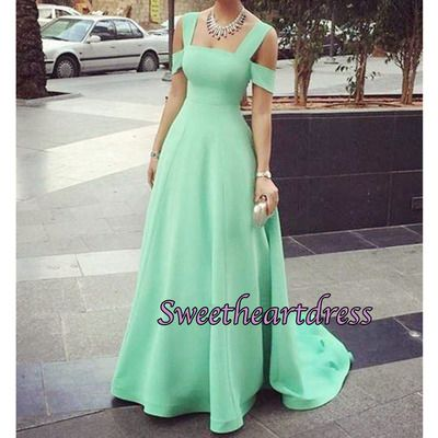 2016 elegant off-shoulder apple green chiffon long senior prom dress, ball gown, vintage prom dress #coniefox #2016prom