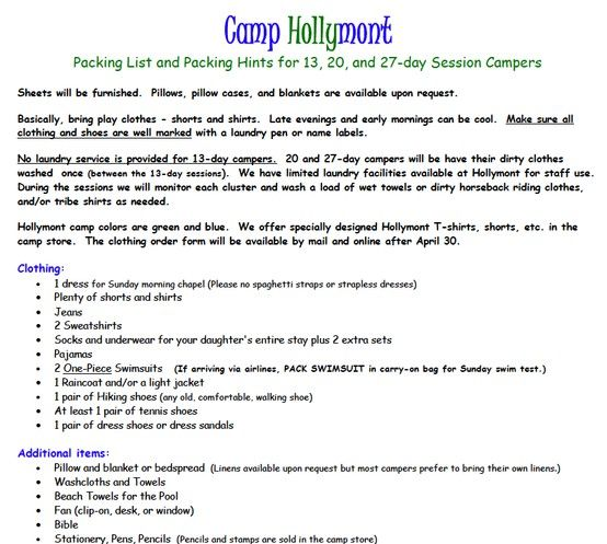 Camp Hollymont Click To Download Entire Official Packing List BPOgear