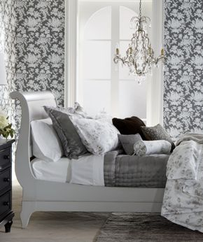 LOVE THE GRAYS - THE SLEIGH BED IS BEAUTIFUL!! THE CHANDELIER IS SO PRETTY!! WOULD LOVE A BEDROOM LIKE THIS ONE!! :)