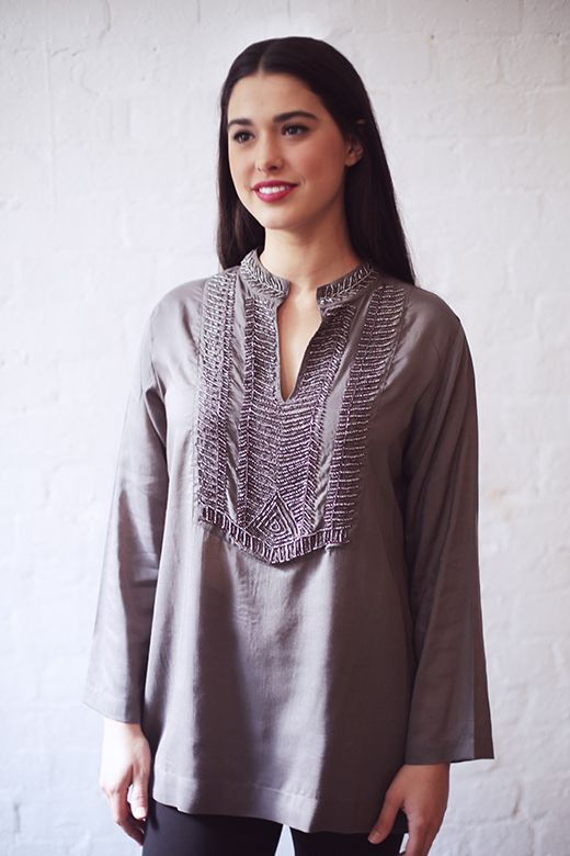 Delicate Beaded Top in Silver http://cakeclothing.net/collections/winter-15/products/delicate-beaded-top-grey