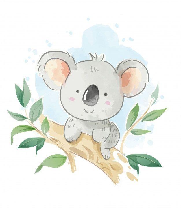 Cartoon Koala Sitting On The Tree Branch Illustration In 2020 Koala Drawing Koala Illustration Koala