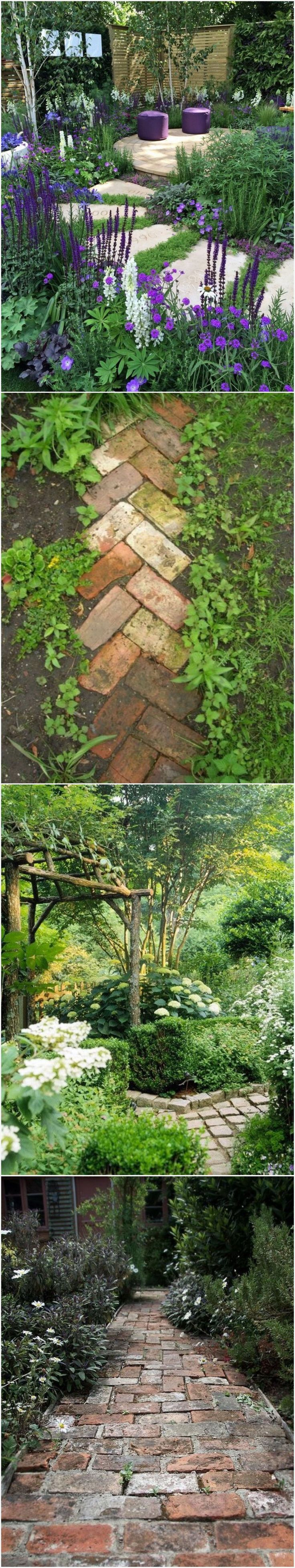 Love the purple garden! & little herringbone side path.