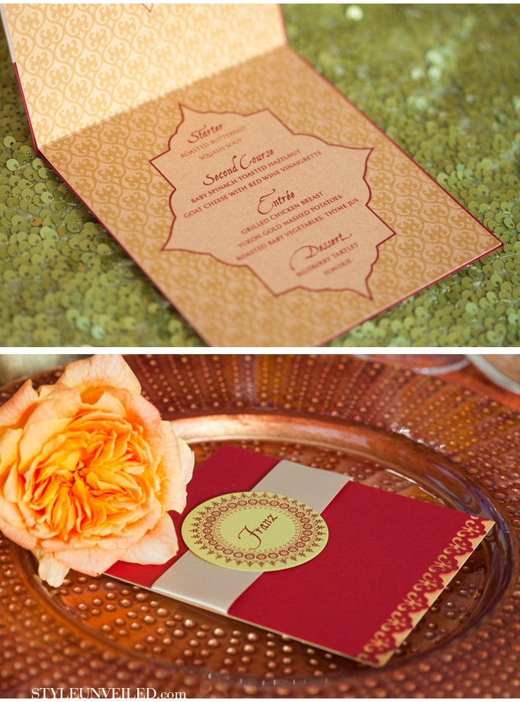 moroccan scroll wedding invitations%0A This is a menu but it u    s pretty enough to be an invitation  Wedding