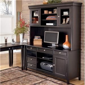 Carlyle Corner L Shape Desk With Credenza And Hutch By Ashley Furniture    AHFA