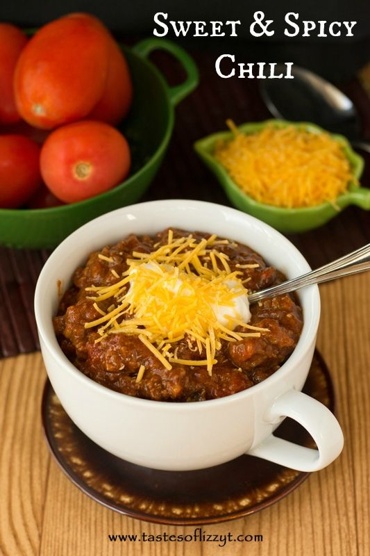 Sweet and Spicy Chili {Tastes of Lizzy T}  Our family's favorite chili!  Meaty, slightly sweet and spicy.  Adjust the sweetness and spiciness to your family's likings! http://www.tastesoflizzyt.com/2013/10/31/sweet-spicy-chili/