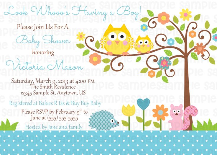 23 best Happi Tree Owl Baby Shower images on Pinterest Owl - baby shower invitation template microsoft word