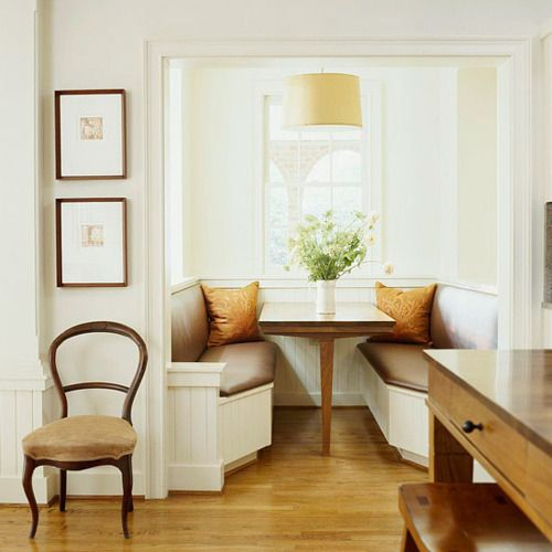 A true breakfast nook.  After finishing your basement, you'll have the skills to build this yourself.