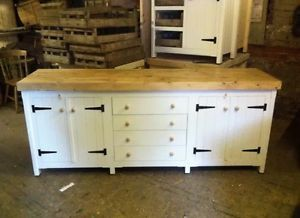 Xl Rustic Wooden Solid Pine Freestanding Kitchen Unit Cupboards And Drawers